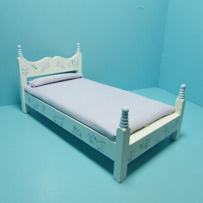 Dollhouse Miniature Double Bed Bedroom Set Mauve Flowers 7 Pcs TLF218
