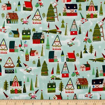 COTTON By 1//2 Yard ~ Riley Blake Pixie Noel Aqua Snow Bunnies Christmas Fabric