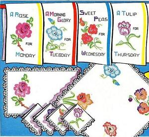 Vintage-Hand-Embroidery-215-Flowers-for-Days-of-the-Week-kitchen-dish-towels