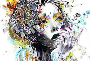 Image Is Loading Girl Within Flowers Abstract Colourful WALL ART CANVAS