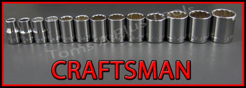 CRAFTSMAN HAND TOOLS 13pc LOT 1//2 Drive SAE 12 point ratchet wrench socket set
