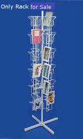 White 48 Pocket Greeting Card Display Rack With Top Sign Holder 65h X 16d