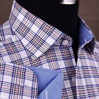 White Checkered Flannel Formal Business Dress Shirt Red Striped Casual Fashion
