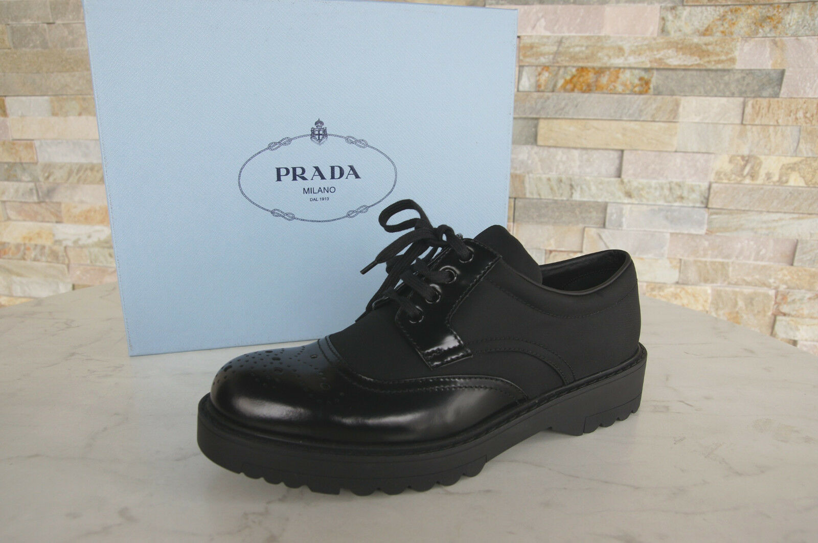 PRADA T 38 Chaussures Basses Chaussure Lacée Chaussures 1e038h Noir Noir Noir Nouveau Ancien Prix Recommandé 4e7780