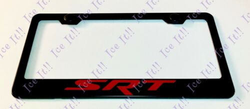 Red SRT Hellcat Dodge Stainless Steel Black License Plate Frame W// Caps