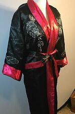 Kimono Red Black Gold Japan Robe Reversible Embroidered Dragon Unisex
