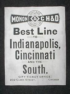 766L-RAILROAD-MONON-amp-CH-amp-D-CHICAGO-CINCINNATI-LINE-1895-ADVERT-REPRINT-11-034-X14-034