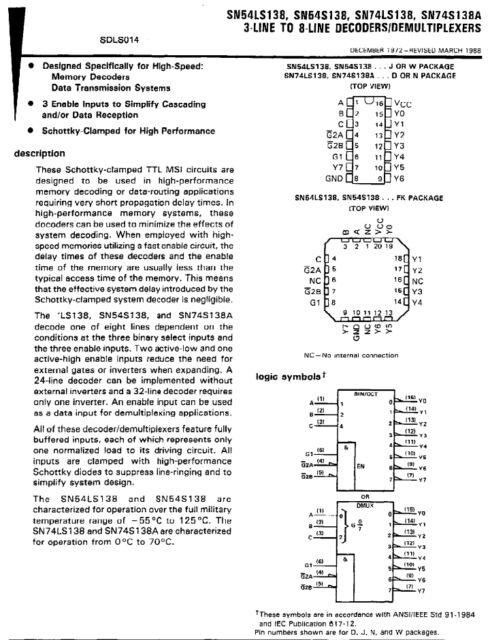 Motorola SN74LS138N Integrated Circuit Chip Decoder//Demux 3-8Line 16DIP  NOP