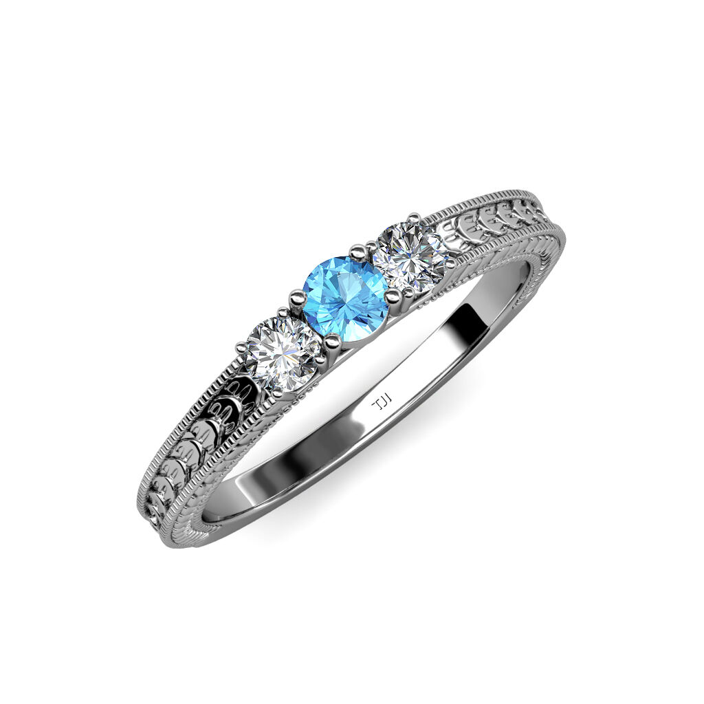 bluee Topaz and Diamond 3 Stone Ring with Milgrain Work 0.55 ct tw in 14K gold