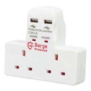 2 Way Multi-Plug Adaptor with Dual USB Ports Mains Charging