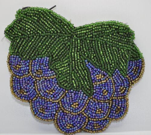 GRAPE BUNCH YZ7 beaded handmade zipper style new coin purse wallet pouch bag