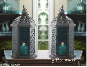 "2 black blue Moroccan 11"" tall Candle holder Lantern Lamp light outdoor terrace"