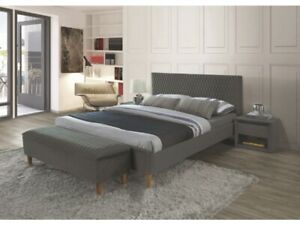 Polsterbett Doppelbett Grau Samt 160x200 Schlafzimmer Luxurios Bank Nachttisch Ebay
