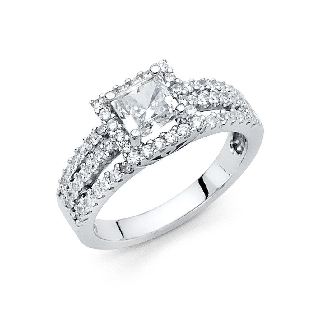 1.5 CT Princess Cut Diamond Engagement Wedding Ring 14k Solid White gold