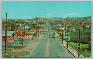 Butte-Montana-Looking-North-on-Montana-Street-Open-Pit-Mining-c1950-Postcard