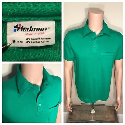 Vintage Stedman Polo collared tshirt  NOS  deadstock plain blank tee  Maroon  adult size small  made in USA 5050 blend