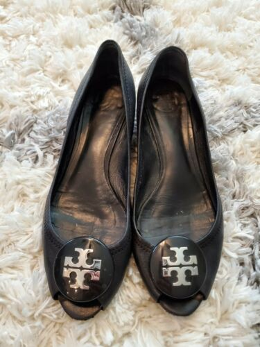 TORY BURCH  Black Leather Silver Logo Womens Shoes