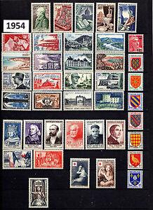 Timbres France-année 1954 complète 40 timbres TBE - France - Type: Timbres Format: Lot Pays: France Année d'émission: 1941 1960 Thme: Année complte Qualité: TTBE Marque postale: Non oblitéré Région: Europe - France