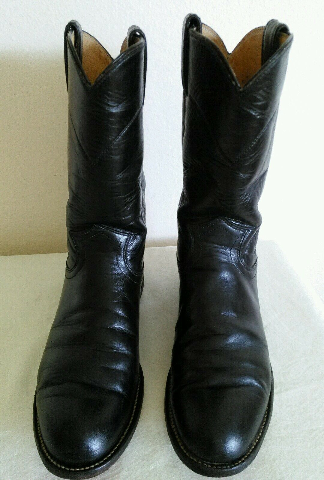 JUSTIN Women's Black leather Western Roper Riding boots Size 7 B Made in USA