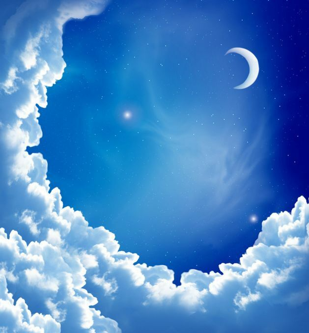 Blau sky Moon Clouds Ceiling WallPaper Murals Wall Print Decal Deco AJWALLPAPER