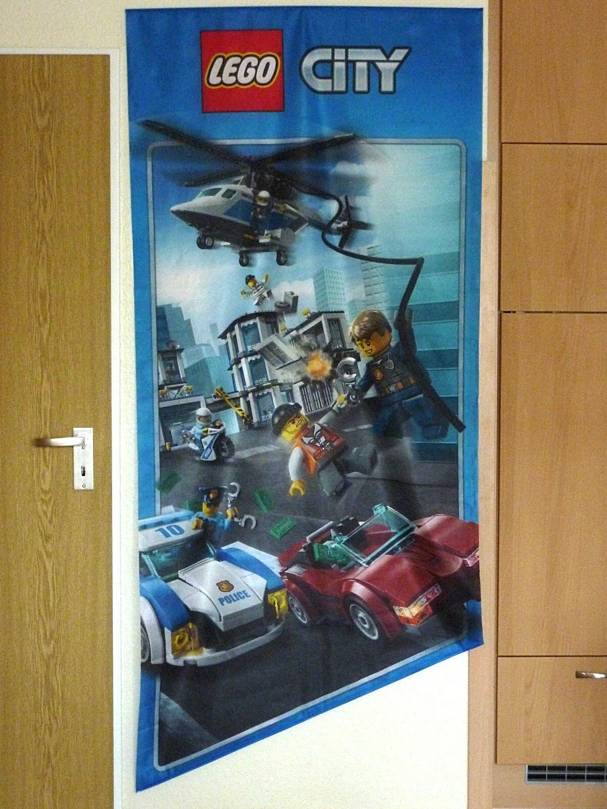 LEGO CITY POLIZEI JAGD POLICE WERBE BANNER PLAKAT FAHNE ADVERTISING LABEL SIGN