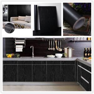 Black Wood Grain Contact Paper Self Adhesive Wallpaper Countertop Kitchen Decor Ebay