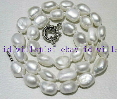 natural purple 9-10mm irregular freshwater pearl necklace 18/'/'