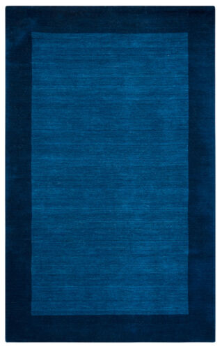 Rizzy Rugs Blue Distressed Solid Wool Contemporary Area Rug Bordered PL2436