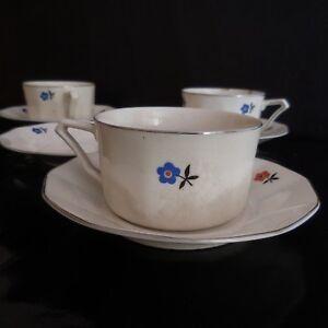 Actif 4 Tasses 5 Soucoupes Porcelaine Tchécoslovaquie Art Nouveau Déco Pn France N2865 Finement Traité