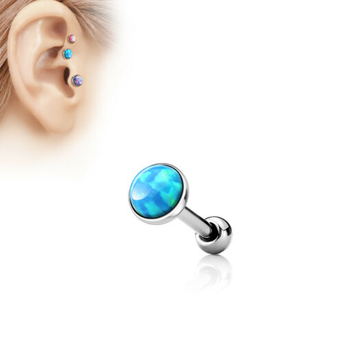 Three Size Opal Stud TRAGUS CARTILAGE Bar Helix Conch EAR Rings Piercing Jewelry
