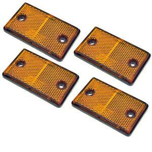 Réflecteur Ambre Rectangulaire Latérale Pack De 4 Remorque Clôture Porte Post Tr068-afficher Le Titre D'origine