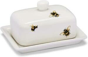 CREAM BUMBLE BEES DESIGN CERAMIC BUTTER DISH KITCHEN DINING TABLEWARE