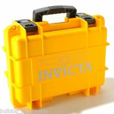 New Invicta 8 Slot Impact Yellow Dive Storage Collector Waterproof Watch Case