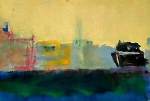 MAILE NEW YORK CITY MIXED MEDIA IMPRESSIONIST ABSTRACT SKYLINE SHIP SERIGRAPH