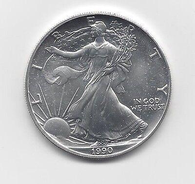 One Troy oz .999 Bullion 1990-1 oz American Silver Eagle Coin