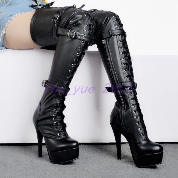 Womens Punk Over Knee Thigh Boots Stilettos High Heels Zip Buckles Biker Shoes