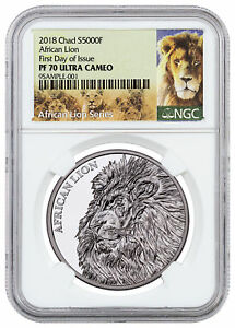 2018-Republic-of-Chad-African-Lion-1-oz-Silver-5-000F-NGC-PF70-UC-FDI-SKU51664