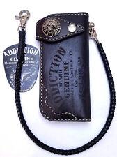 Handmade Black Leather Vintage skull biker trucker braided chain wallet