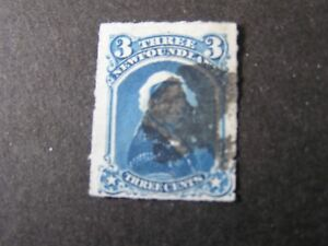 NEWFOUNDLAND, SCOTT # 39, 3c. VALUE BLUE ROULETTED 1877 ISSUE USED