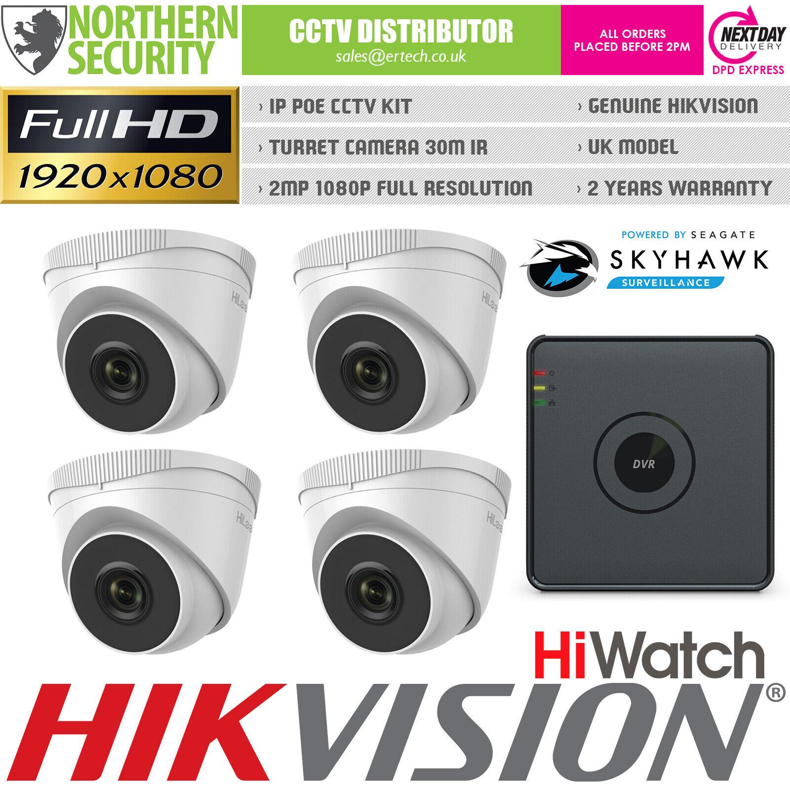 Hilook HD 1080P 2MP 4MM Visión Nocturna Exterior Poe IP Sistema Seguridad Kit