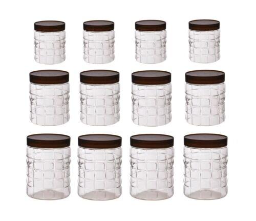 12 X Plastique Conteneurs de stockage Pots Effacer nourriture sèche bidons Set Vis Top Pet