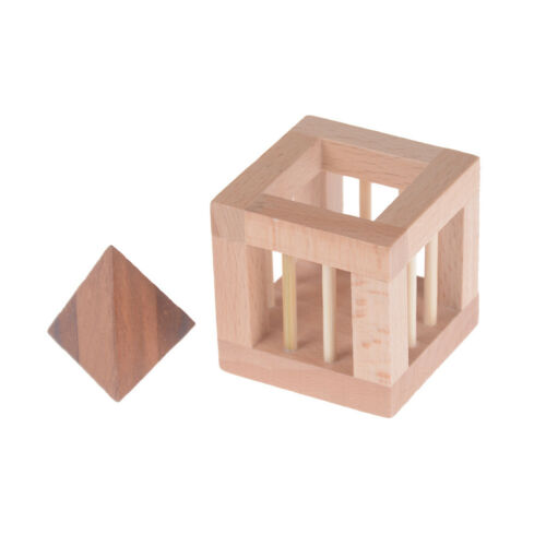 3D Wooden Triangle IQ Brain Teasers Interlockings Burr Puzzles Game Toy For`Kids