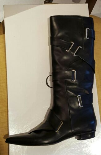 CASADEI BLACK LEATHER BOOTS BELTED WITH GROMMETS