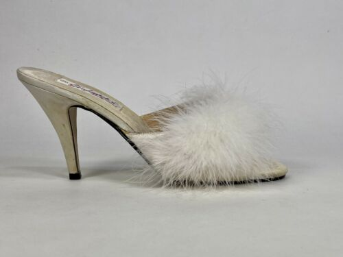 Vintage 1970's Ivory MARABOU feather mules by FRED