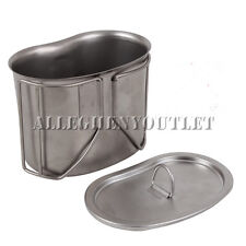 NEW Military Style HEAVY DUTY Stainless Steel Canteen Cup with Lid Cover