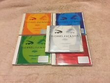 MICHAEL JACKSON INVINCIBLE 5 CD LOT WHITE/RED/GREEN/BLUE/ORANGE ARTWORK STICKERS