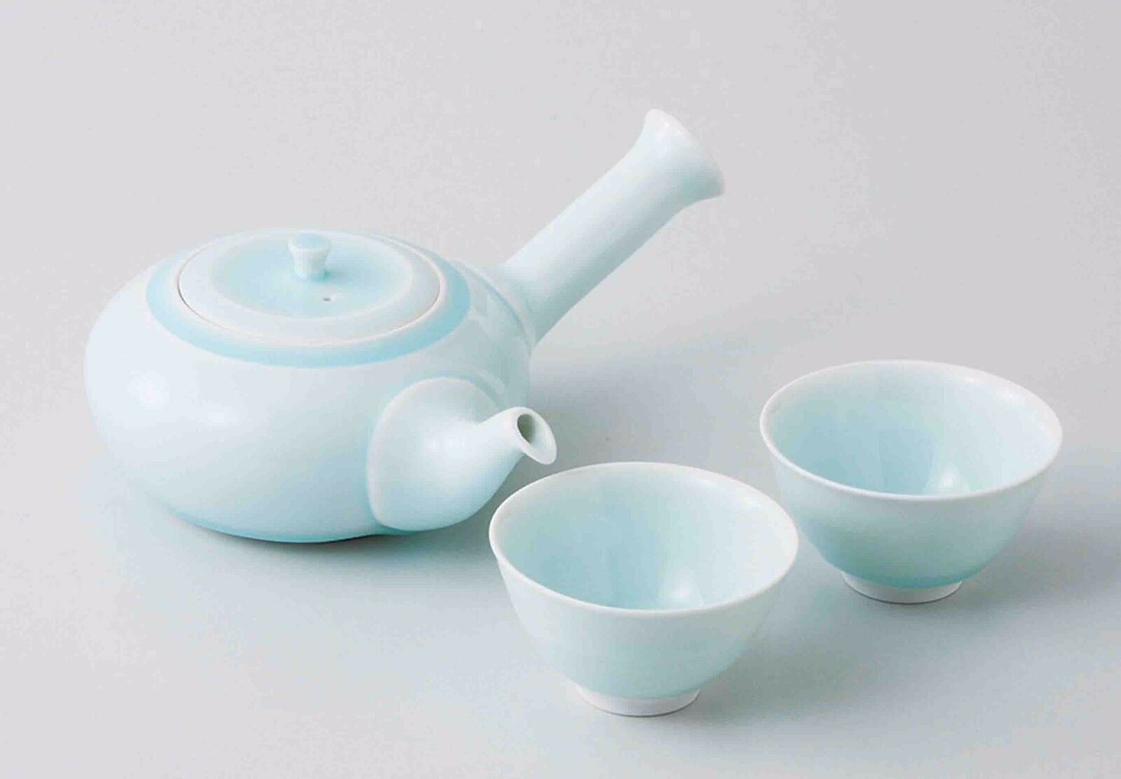 [Value] Hasami Celadon Porcelain   Kyusu tea pot & 2 Yunomi tea cups Set w Box