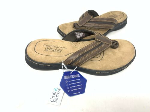 Croft /& Barrow Men/'s Jensen Ortholite Comfort Sandals Brown #098758 141N z NEW