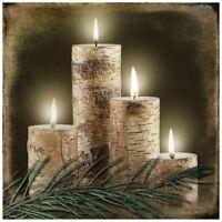 Ohio Wholesale Radiance Lighted Birch Candle Canvas Wall Art, From Our Lodge Col