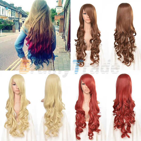 """33"""" 5 Colors Heat Resistant Sexy Curly Long Cosplay Party Hair Wigs for Women"""